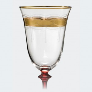 Angela Pantograph Etching With Gold Band & Red Stem - 400 ml