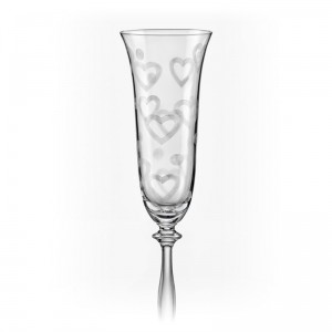 Angela Love Champagne Glass Etched Hearts 190ml